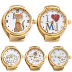 DV_ Lady Girl Golden Tone Round Elastic Alloy Quartz Watches Finger Ring Watch S image