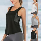 1-Ladies Yoga Fitted Tank Tops Sleeveless Running Gym Shirts Sports Workout Tops
