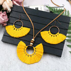 Fringed Necklace Earrings Set Woven Fabric Yarn Women's Long Necklace Jewelry image