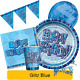 BLUE GLITZ - ALL AGES - Birthday Party Range - Tableware Supplies Decorations