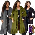 Vintage Womens Jacket Duster - Cascade Ruffled - LotusTraders All Sizes Q205