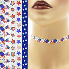 "Patriotic Choker 3/8"" custom necklace Independence Day 4th of July America USA"