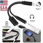 Type C to 3.5 mm and Charger 2 in1 Headphone Audio Jack USB C Cable Adapter New