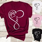 Women Fashion Tops Casual Loose Short Sleeve T Shirts Graphic Tee Dog Paw Heart