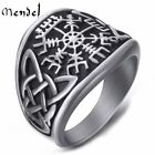MENDEL Mens Stainless Steel Viking Celtic Triquetra Vegvisir Trinity Knot Ring photo