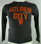 San Francisco Giants MLB Mens Long Sleeve Distressed Graphic T-shirt in Charcoal on Ebay