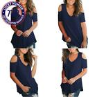 Slimming Gril Women'S Casual T Shirt V Neck Cold Shoulder Tops Short Sleeve Tshi