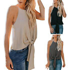 Women Summer Chiffon Sleeveless Tanks Vest Blouse Cami Camisole Front Knot Tops