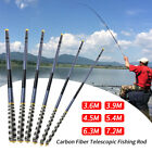 Carbon Fiber Fishing Rod Telescopic Hand Pole 3.6m-7.2m For Carp Fishing New