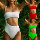 Womens Swimsuit Monokini Bikini Padded Swimwear Hollow Bathing Suit Brazilian