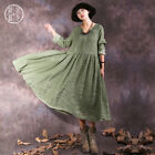 2019 Women Retro Ethnic Loose Front Button V Neck A Line Maxi Dress Cotton Linen