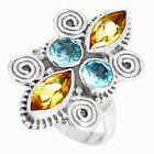 6.22cts Natural Yellow Citrine Blue Topaz 925 Silver Ring Size 7.5 M88856