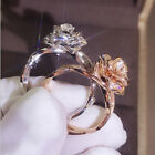 Gorgeous Flower Two Tone 925 Silver Floral Ring 14k Rose Gold Wedding Jewelry image