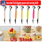Double-headed Stainless Steel Cut Fruit Dig Ball Spoon Carve Knife Vegetables US