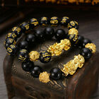 Feng Shui Black Bead Alloy Wealth Bracelet with Golden Pixiu Charms Jewelry US image