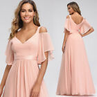 Ever-Pretty US Pink  Cold Shoulder Bridesmaid Dress Chiffon Evening Gowns Pink