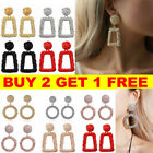 Jewelry Geometric Square Dangle Drop Earrings Studs Metal Statement Gold Gift Uk