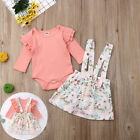 Toddler Baby Girl Lace Floral Long Sleeve Top Skirt Strap Dress Outfits Clothes