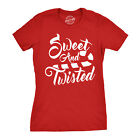 Womens Sweet And Twisted Tshirt Cute Funny Candycane Christmas Tee For Ladies