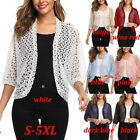 Women's Fashion Open Front Cardigan 3/4 Sleeve Shrug Lace Floral Crochet Tops