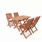 5 Pieces Teak Wooden Garden Dining Set Folding Table And 4 Chairs Outdoor Patio