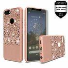 For Google Pixel 3a Glitter Hybrid with Chrome TPU Case +Tempered Glass