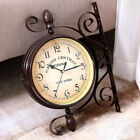 Antique Wall Mount Clock Garden Hallway Indoor Station Double Sided w/ Bracket