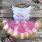 Baby Girl 1st Birthday Party Dress Floral Romper Tutu Skirt Outfit Clothes Bow