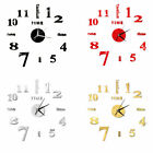 Modern DIY Large Number Wall Clock 3D Mirror Surface Sticker Home Decor US NEW