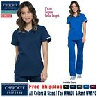 Cherokee Scrubs Set REVOLUTION Women's New V-Neck Top Mid Rise Pant WW601/WW110