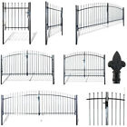 Garden Single/Double Door Fence Gate With Spear Top Wall Grille Gate Fence Lock