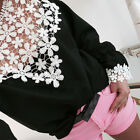 Women Long Sleeve Shirt Casual Flower Lace Blouse Ladies Loose Tops T-Shirt Tee