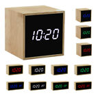 Digital Wooden Mirror Alarm Clock Cube Desk Thermometer with LED Display New