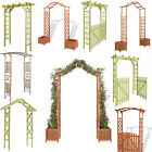 Outdoor Garden Wooden Arbour Trellis Rose Arch with Planters Gate Plant Climbing