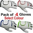 4 White MENS LADIES Golf Glove Gloves Blue,Red,Green Left Right Hand ALL WEATHER