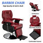 Classic Hydraulic Recline Hair Salon Iron Leather Sponge Barber Chair Stool Red