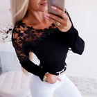 Women Lace Flower Hollow Long Sleeve T Shirt Tops Ladies Casual Slim Fit Blouse
