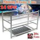14 GPU Aluminum Open Air Mining Frame Stackable Rig Case W/ 20 Fans Crypto Coin