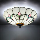 Retro Stained Glass Flush Mount Ceiling Light Fixture Bedroom Tiffany Chandelier
