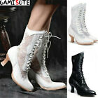 Winter Women Steampunk Victorian Lace Boots Lace Up High Heel Lolita Block Boots