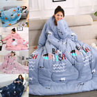 Winter Lazy Quilt With Sleeves Warm Soft Thick Washable Bedding Quilts Blanket image