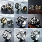 Mens Stainless Steel Nordic Viking Rings Rock Punk Band Ring Biker Jewelry