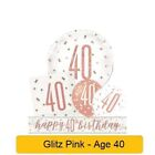 *NEW ROSE GOLD GLITZ* Age 40 - Happy 40th Birthday - Party Supplies Decorations