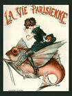 Vie Parisienne Cover Fashion Girl Riding Red Fish Vintage Poster Repro FREE S/H