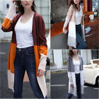 New Women Open Front Colorblock Cardigan Sweater Coat Long Sleeve Knit Cardigan
