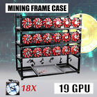 19 GPU Mining Frame Open Air Rig Case Stackable For Ethereum ETH BTC W/ 18 Fans