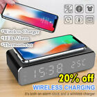 USB Digital LED Desk Alarm Clock with Thermometer Wireless Charger FOR PHONE AM