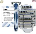 Amazon Brand - Solimo Male 3 blade razor with 20 cartridges C26d2