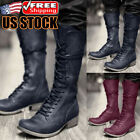 Men Motorcycle Boots Retro Leather Lace Up Steampunk Knight Pirate Warrior Shoes