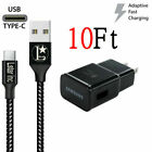 Original Samsung Galaxy Note8 S8 S9 Plus Fast Wall Charger 3/6/10FT Type-C Cable